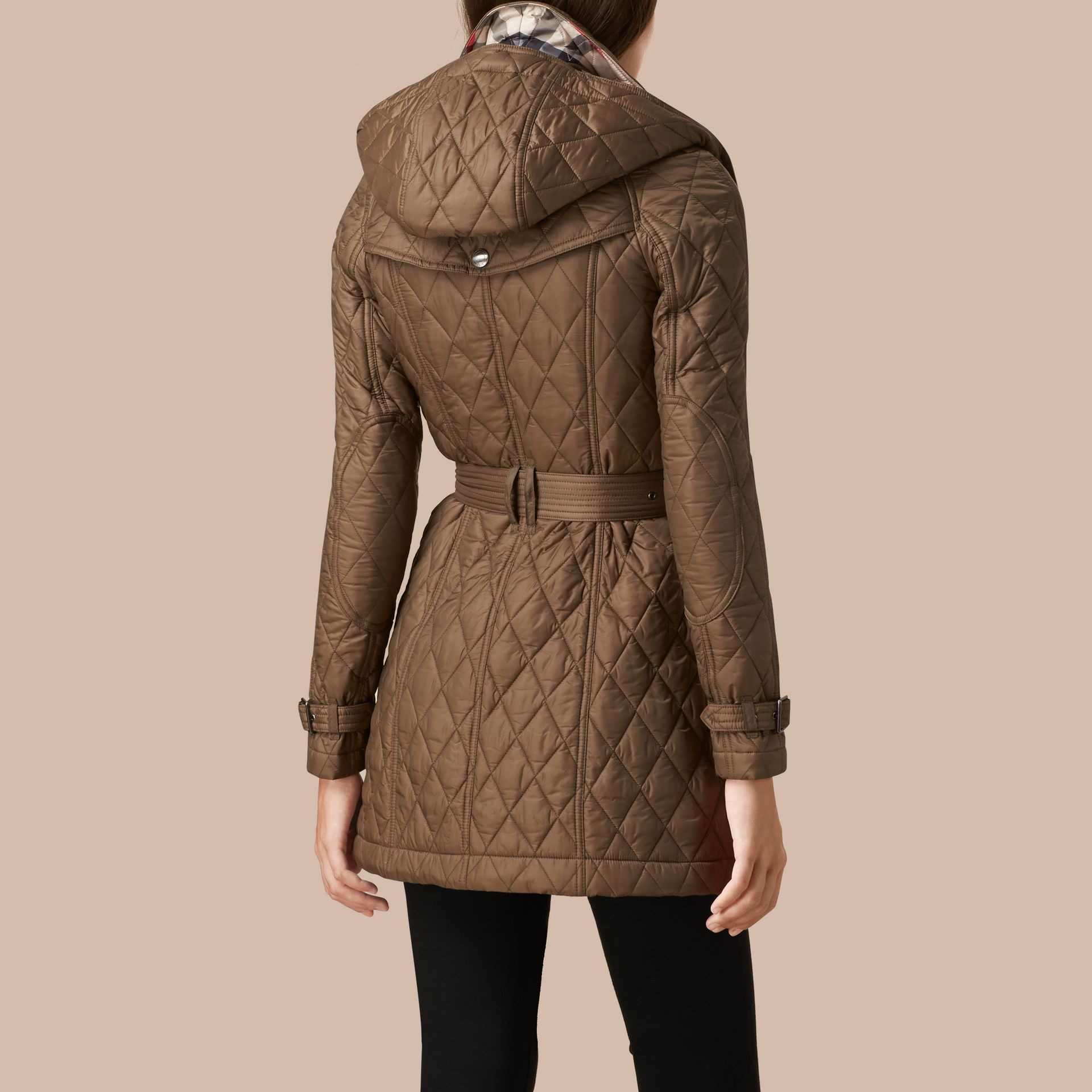 Diamond Quilted Coat Dusty Khaki - gallery image 3