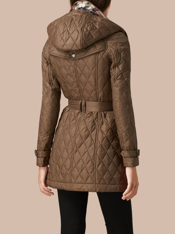 Diamond Quilted Coat Dusty Khaki - cell image 2