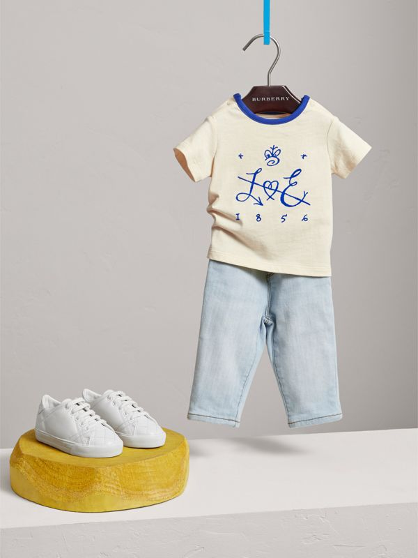 Flocked Emblem Cotton T-shirt in Natural White | Burberry - cell image 2