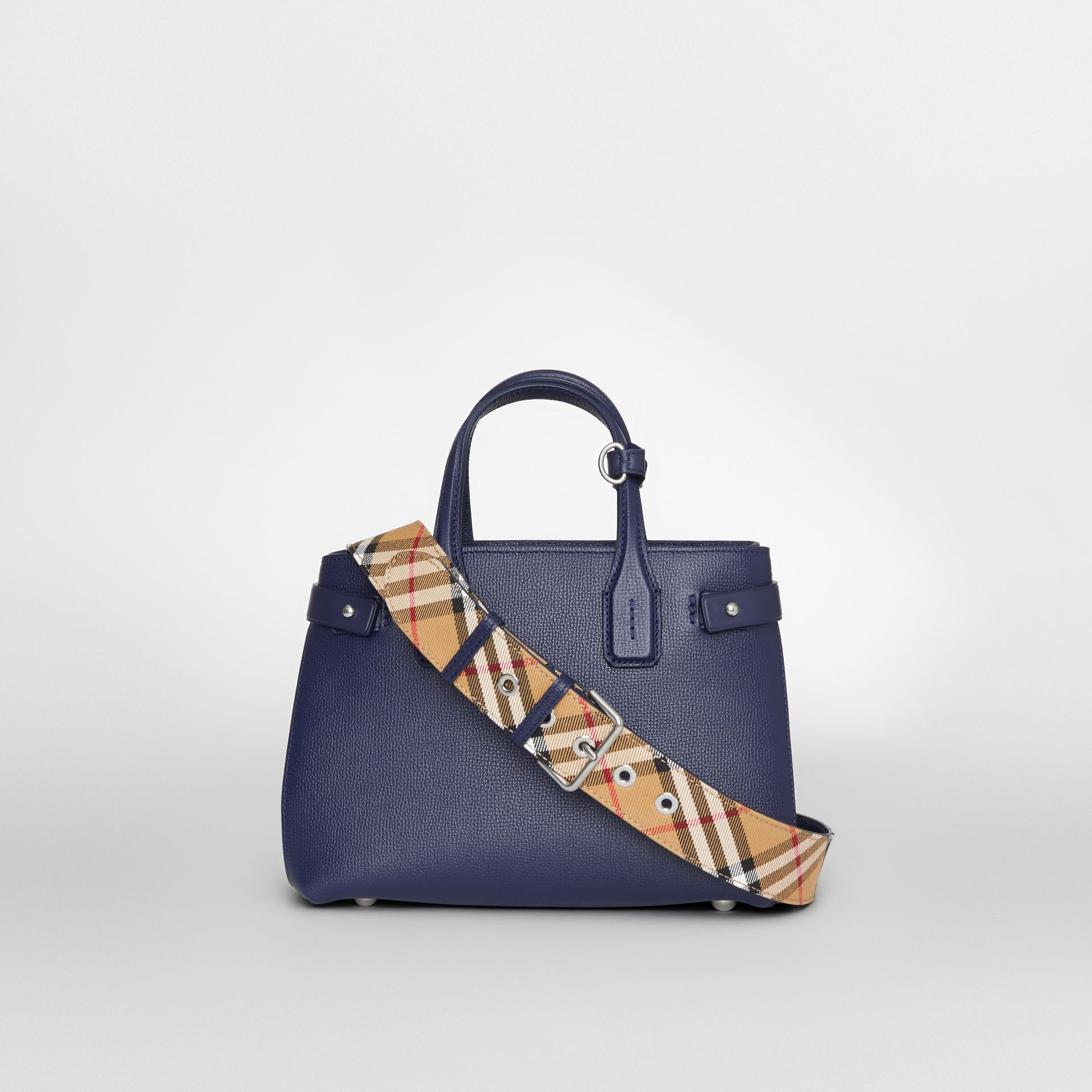 The Small Banner in Leather and Vintage Check in Regency Blue - Women | Burberry - gallery image 9