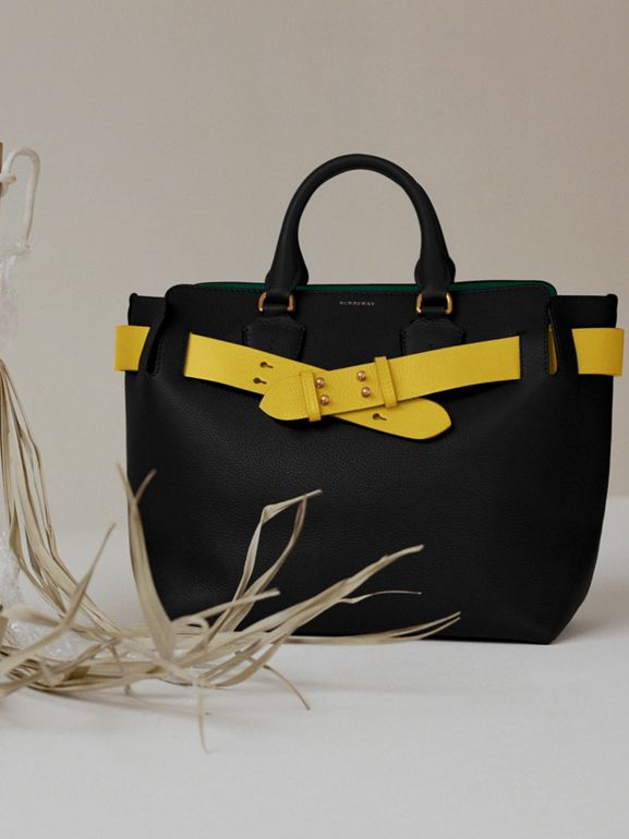 The Large Leather Belt Bag in Black/yellow | Burberry Canada - cell image 1