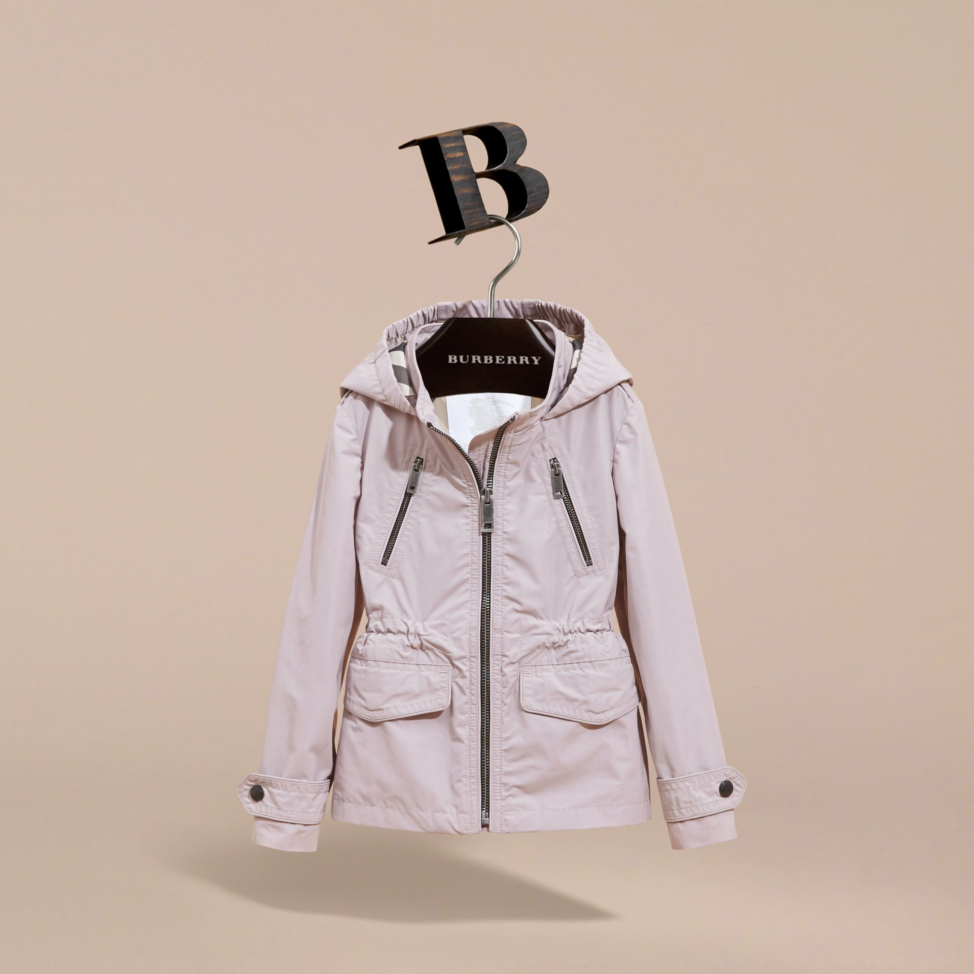 Hooded Packaway Technical Jacket in Stone White - Girl | Burberry Canada - gallery image 3