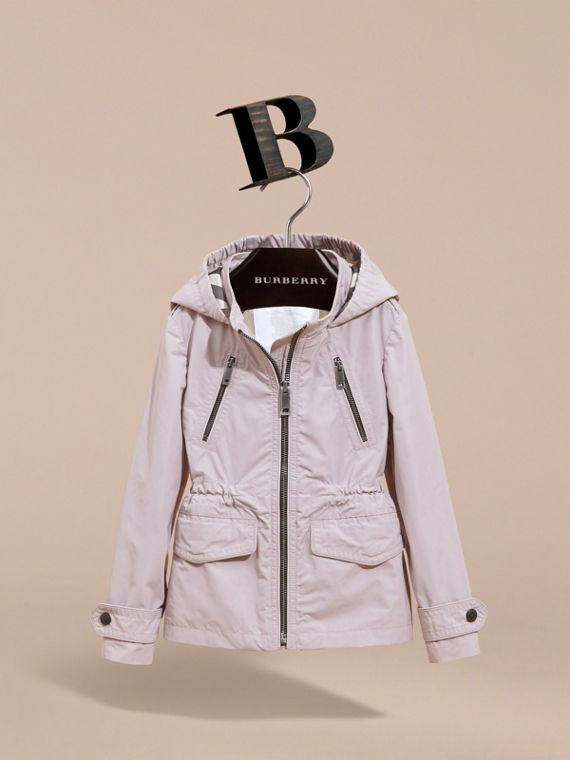 Hooded Packaway Technical Jacket in Stone White - Girl | Burberry Canada - cell image 2