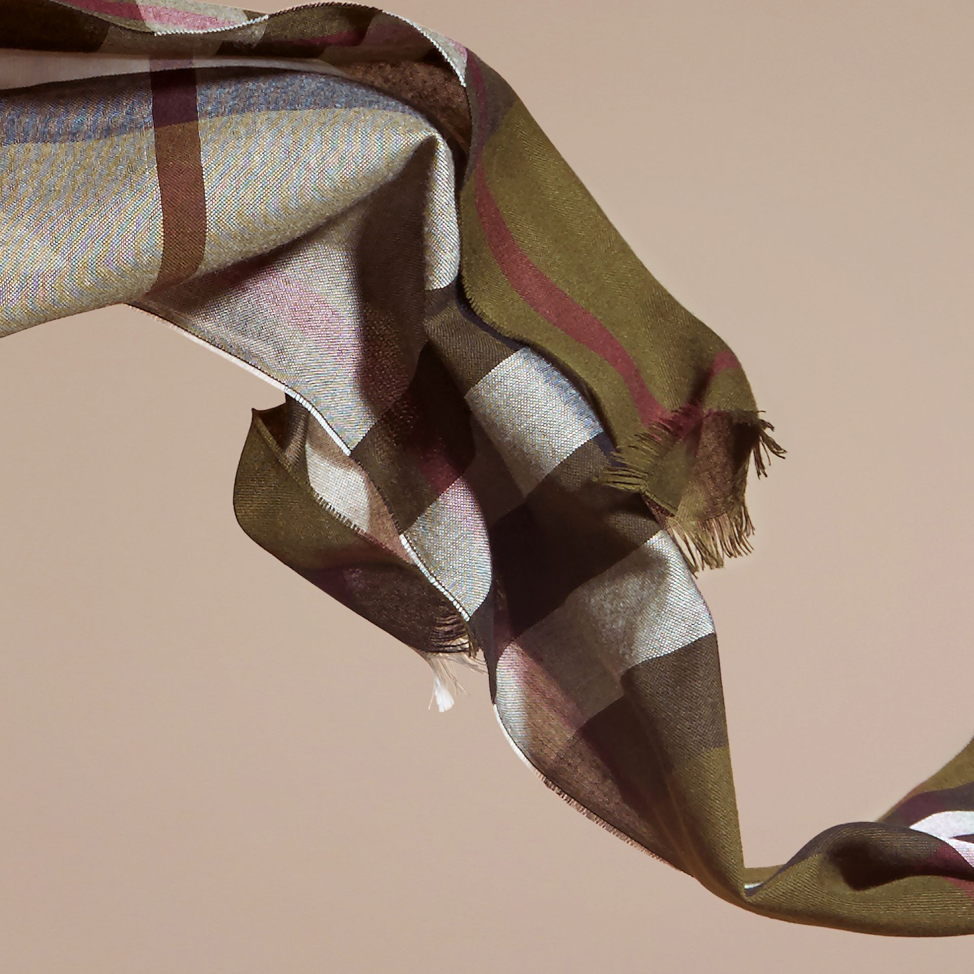 Olive Lightweight Check Wool Cashmere Scarf Olive - gallery image 4