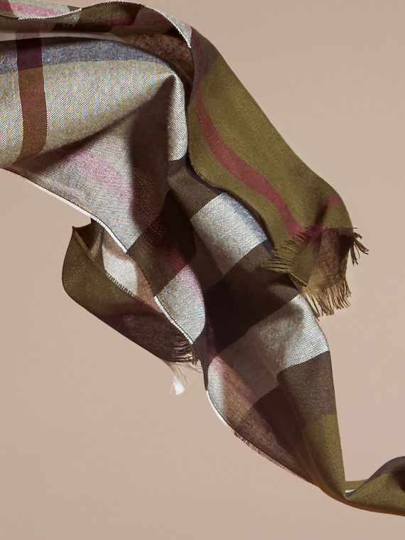 Olive Lightweight Check Wool Cashmere Scarf Olive - cell image 3