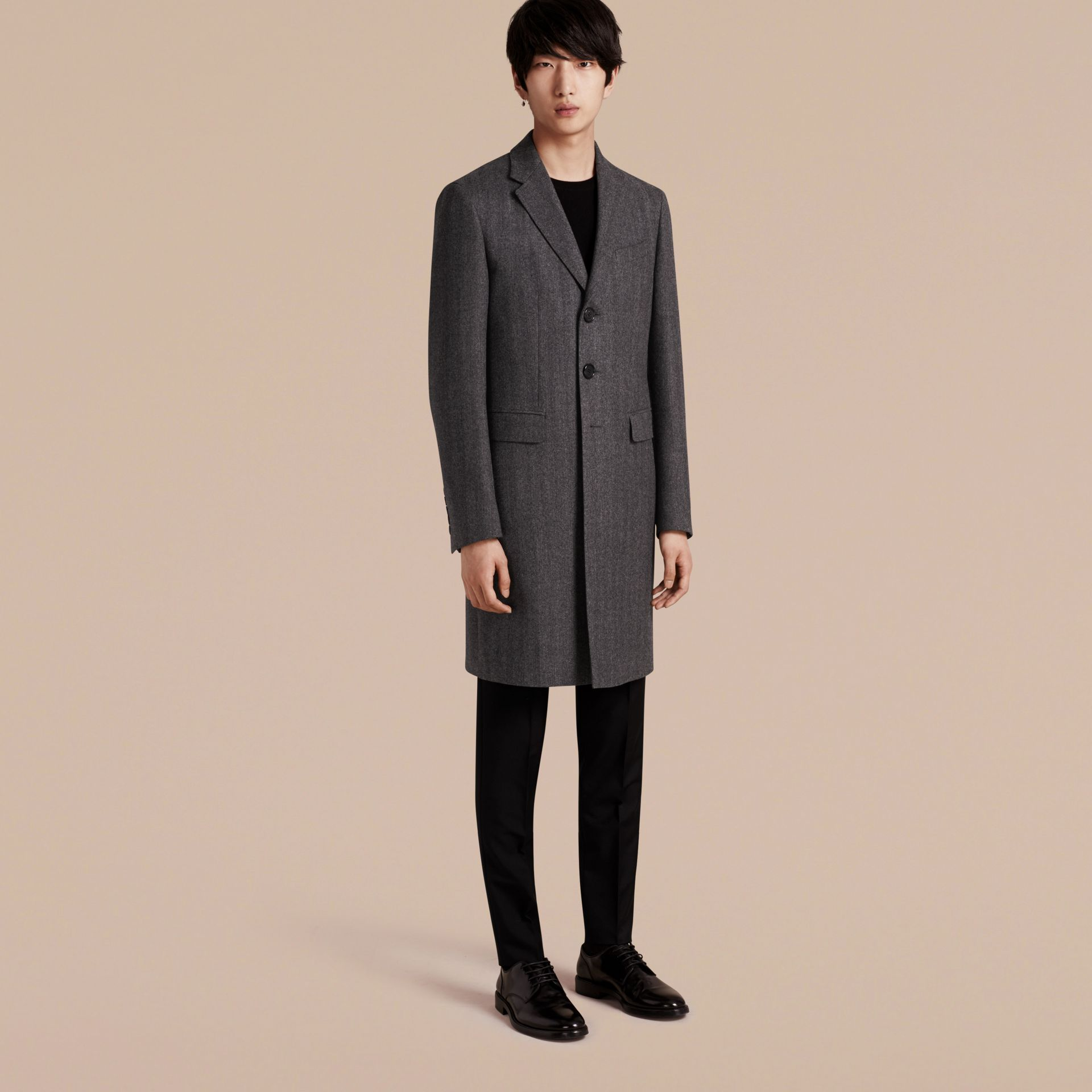Mid grey Wool Herringbone Tailored Coat - gallery image 1