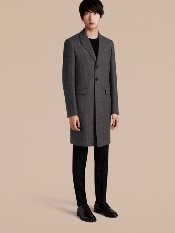 Wool Herringbone Tailored Coat