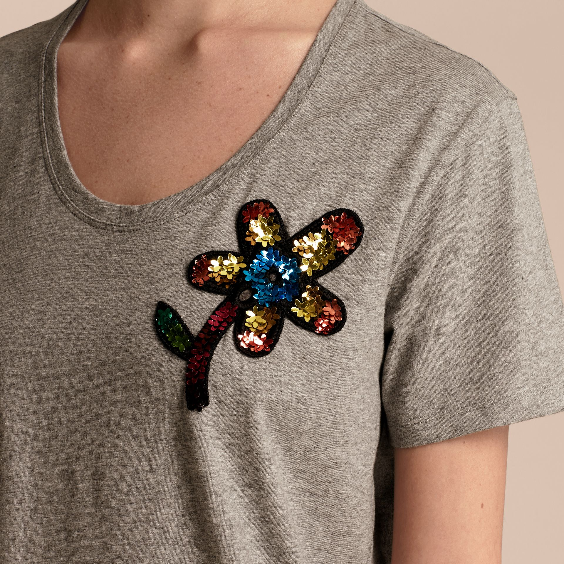 Pale grey melange Sequin Floral Appliqué Cotton T-Shirt Pale Grey Melange - gallery image 5