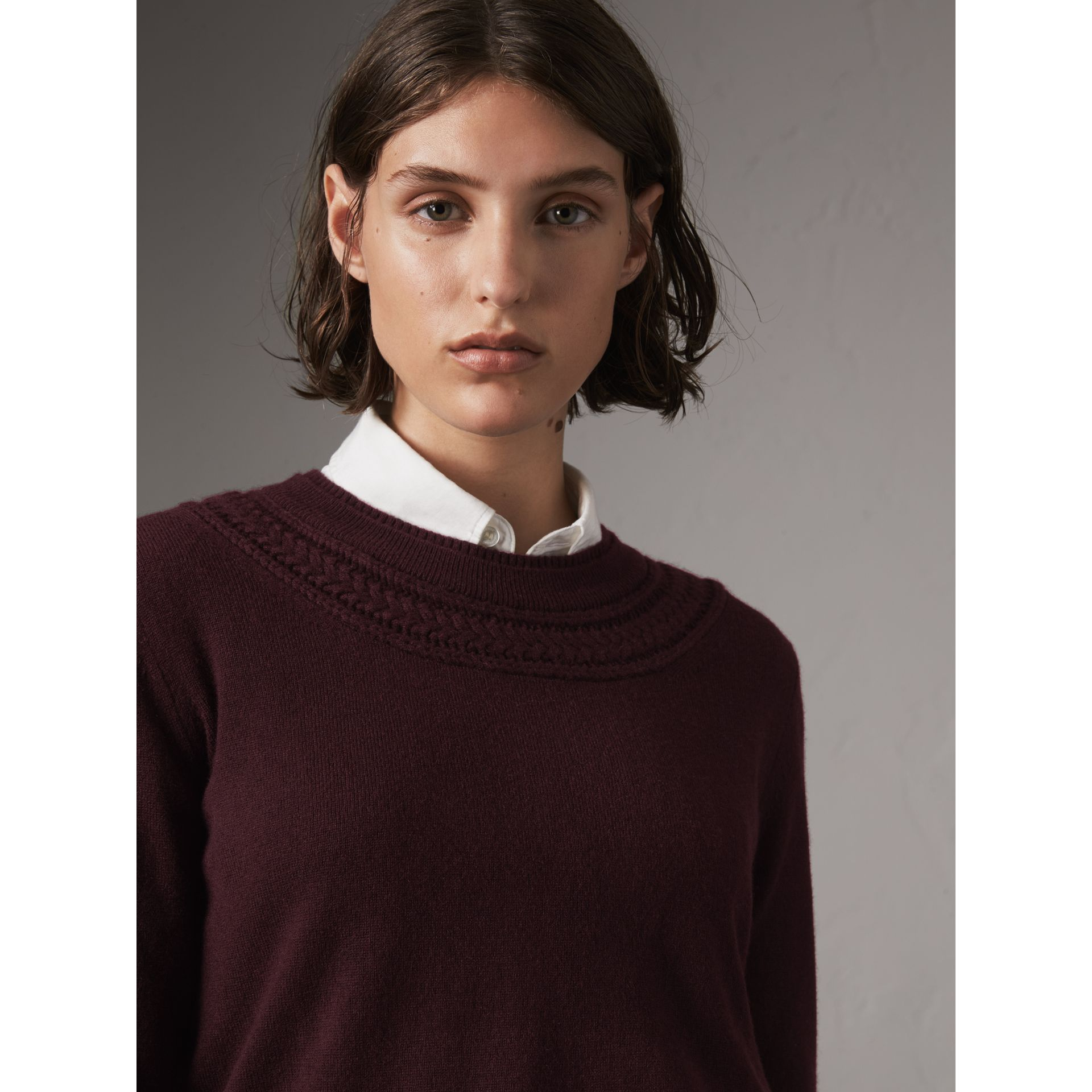 Cable Knit Yoke Cashmere Sweater in Deep Claret - Women | Burberry - gallery image 1