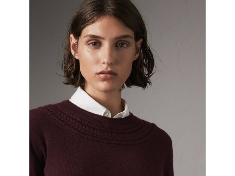 Cable Knit Yoke Cashmere Sweater in Deep Claret - Women | Burberry Hong Kong - cell image 1