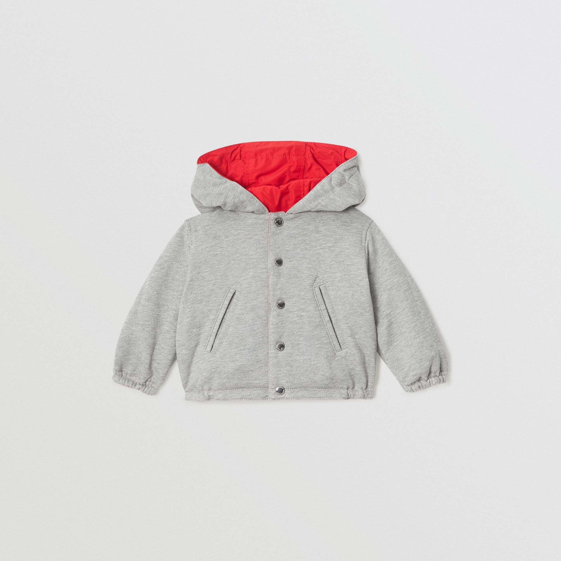 Logo Print Reversible Hooded Jacket in Bright Red - Children | Burberry - gallery image 3