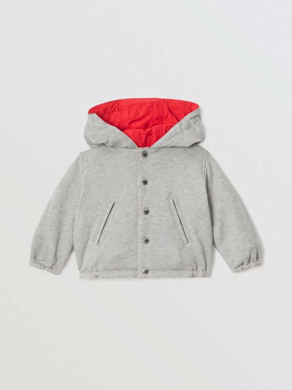 Logo Print Reversible Hooded Jacket in Bright Red
