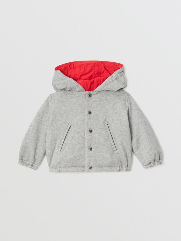 Logo Print Reversible Hooded Jacket in Bright Red - Children | Burberry - cell image 3