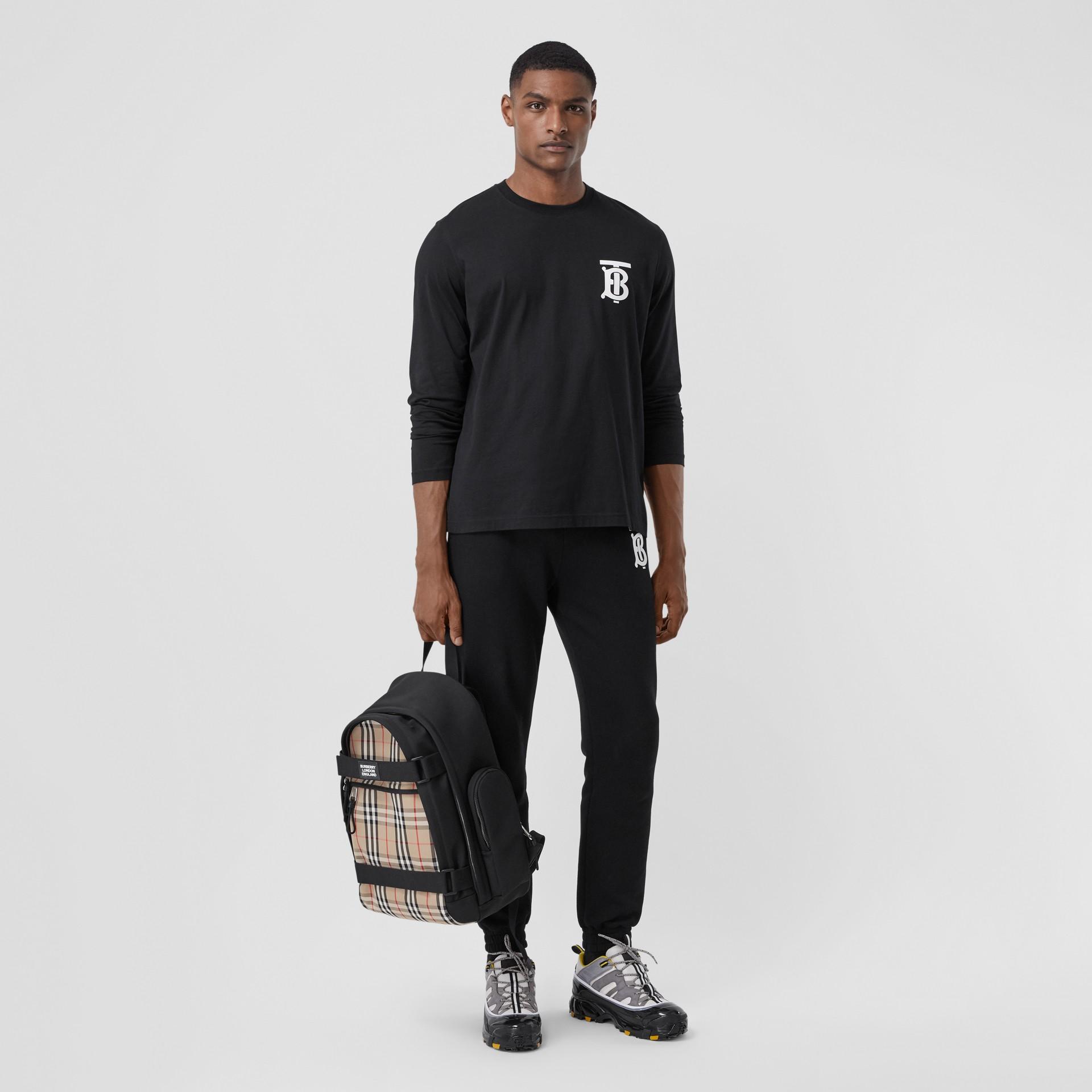 Long-sleeve Monogram Motif Cotton Top in Black - Men | Burberry - gallery image 4