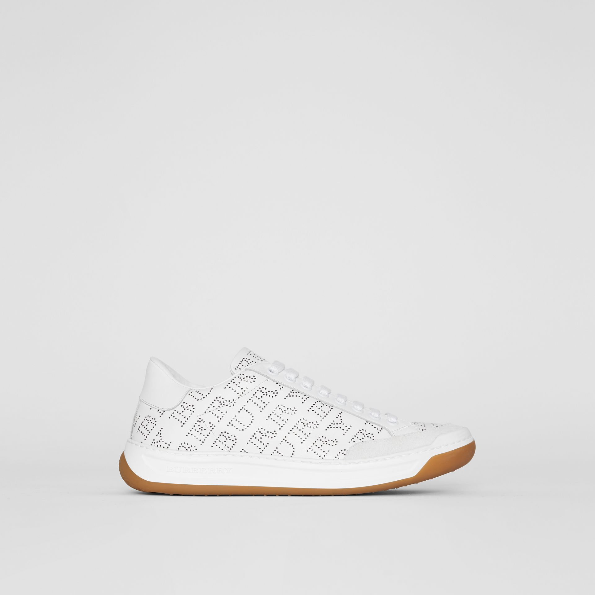 Perforated Logo Leather Sneakers in Optic White - Women | Burberry - gallery image 0