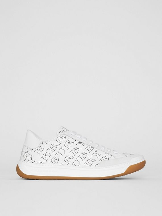 Perforated Logo Leather Sneakers in Optic White