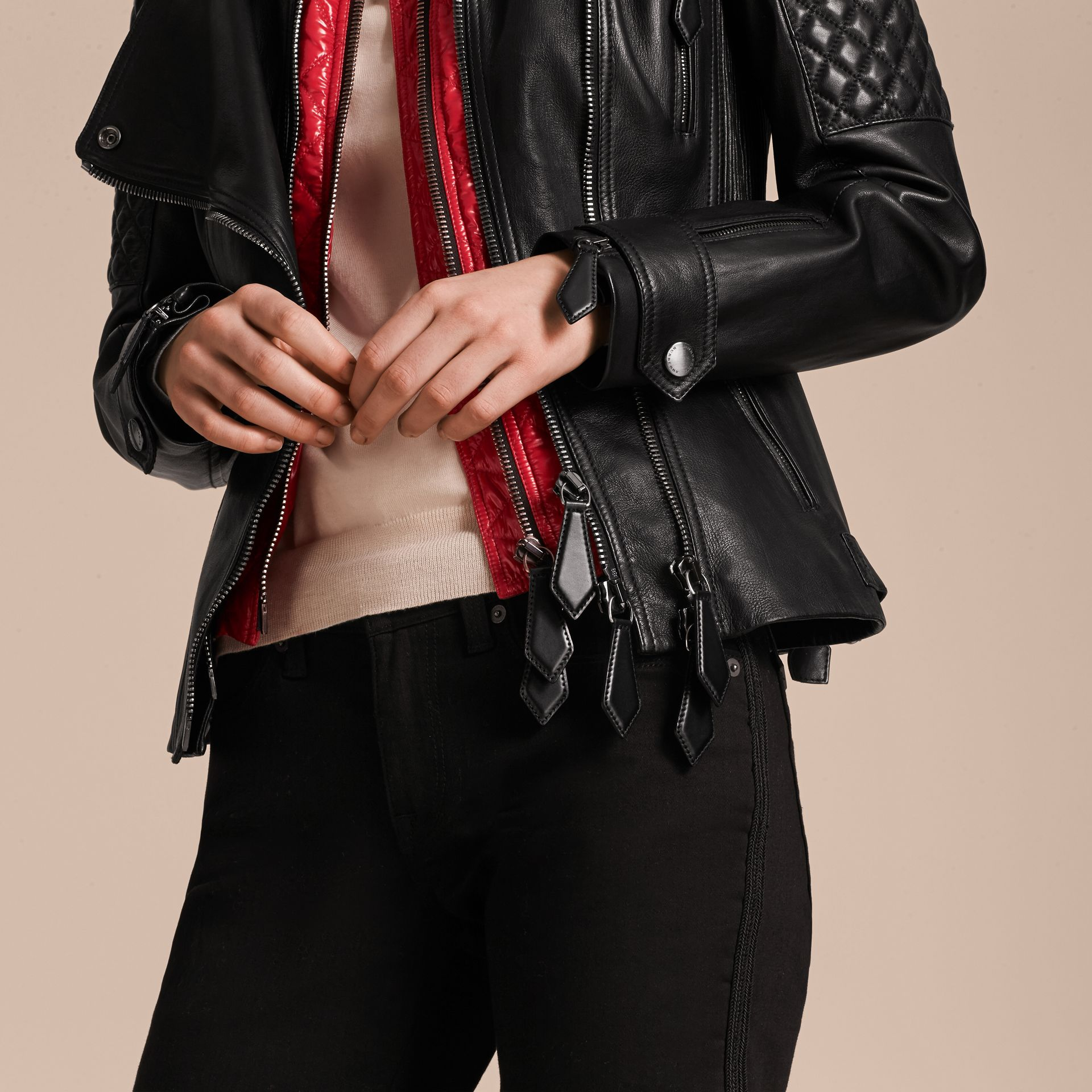 Black Lived-in Lambskin Biker Jacket with Detachable Warmer - gallery image 6