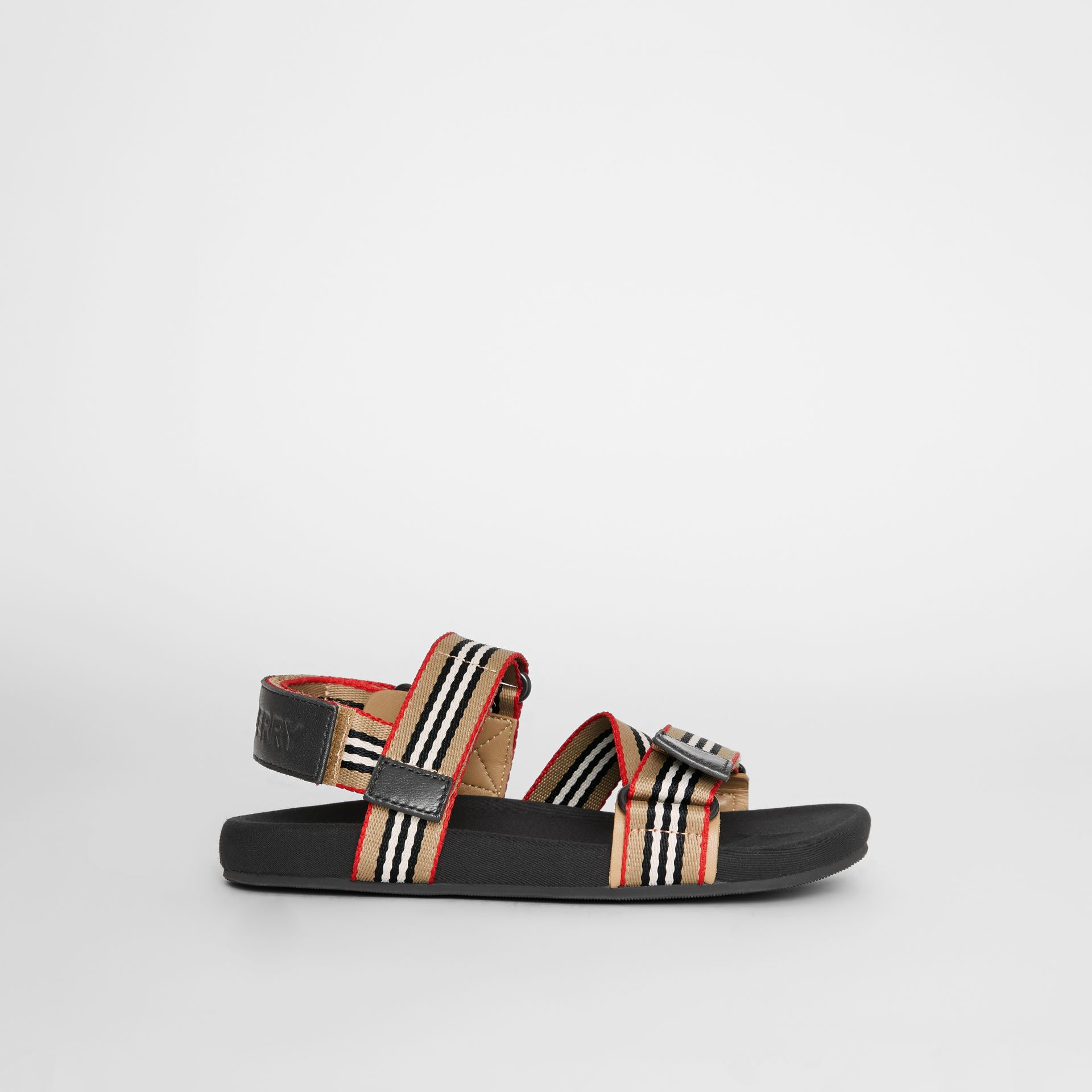 Ripstop Strap Icon Stripe Cotton Sandals in Archive Beige/black - Children | Burberry - gallery image 3