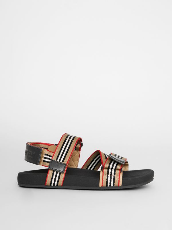 Ripstop Strap Icon Stripe Cotton Sandals in Archive Beige/black - Children | Burberry - cell image 3