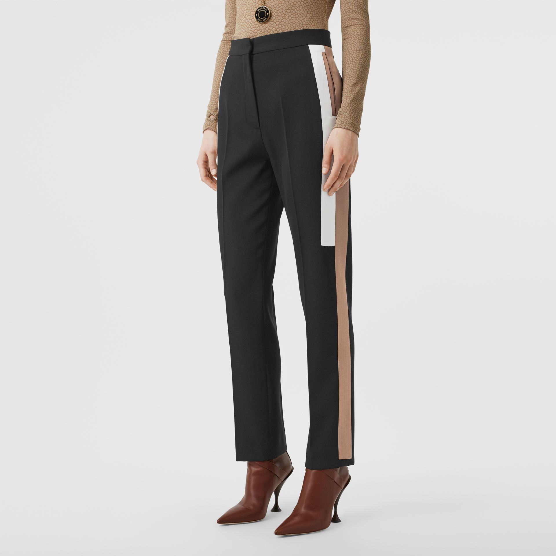 Stripe Detail Wool Tailored Trousers in Black - Women | Burberry - gallery image 4