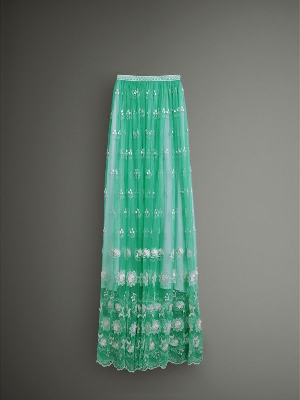 Floor-length Embroidered Tulle Skirt in Aqua Green/white - Women | Burberry - cell image 3