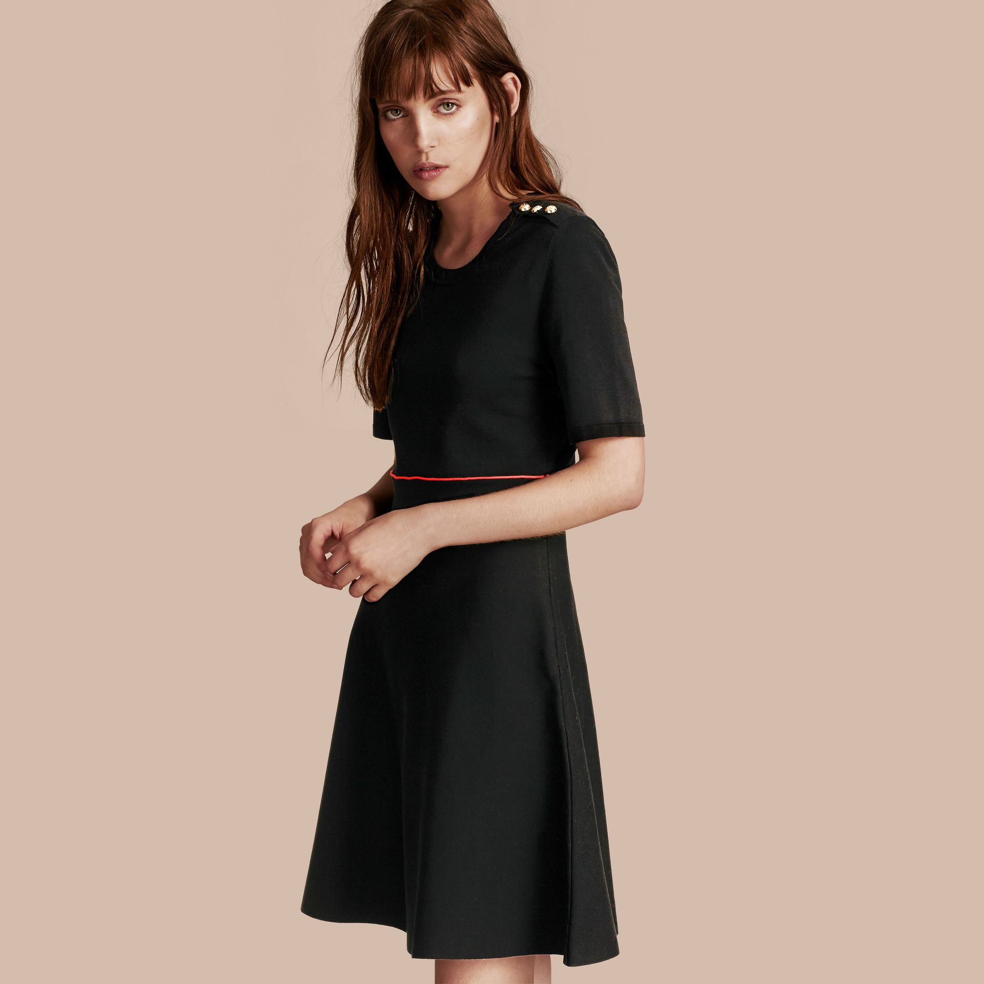 Black Technical Stretch Cotton Military Dress - gallery image 1