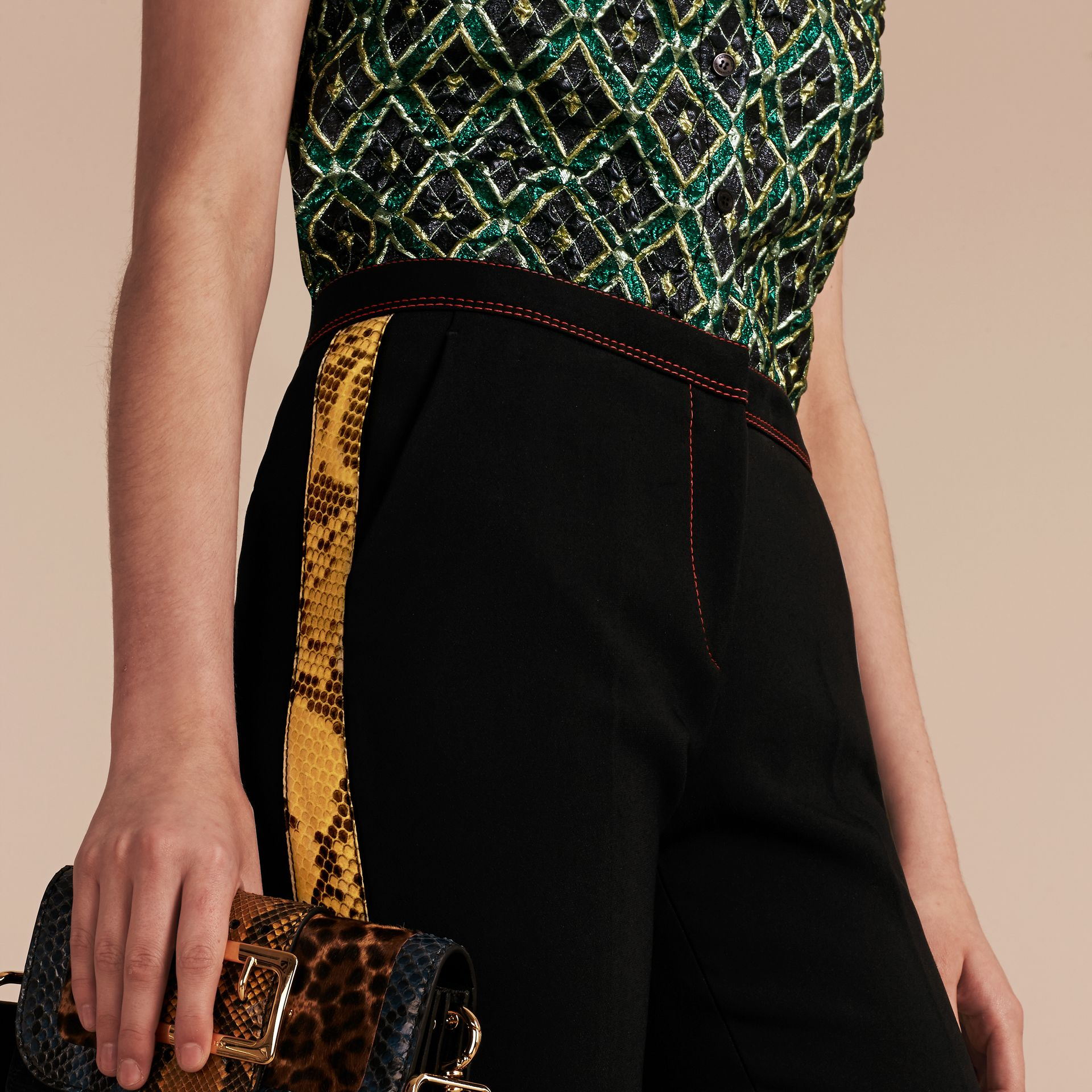 Black Python Print Trim Cropped Tailored Trousers - gallery image 5