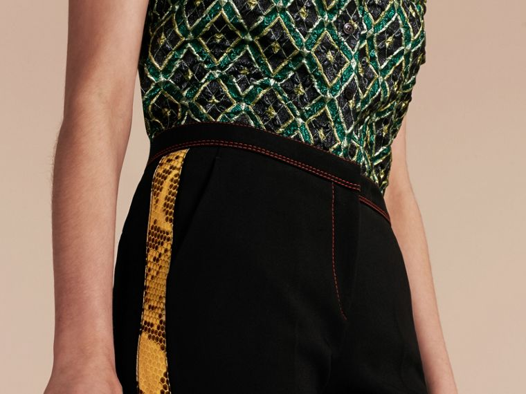 Black Python Print Trim Cropped Tailored Trousers - cell image 4
