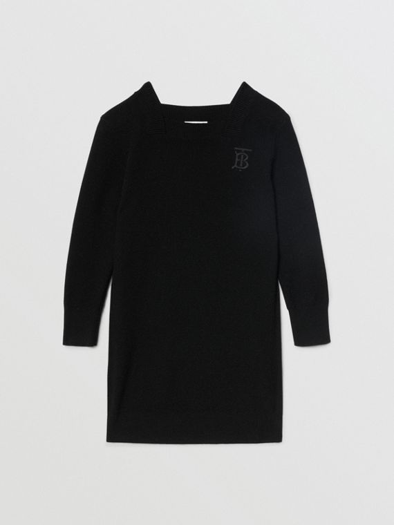Monogram Motif Cashmere Sweater Dress in Black