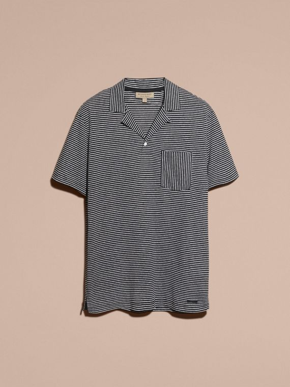Striped Cotton Linen Polo Shirt - cell image 3