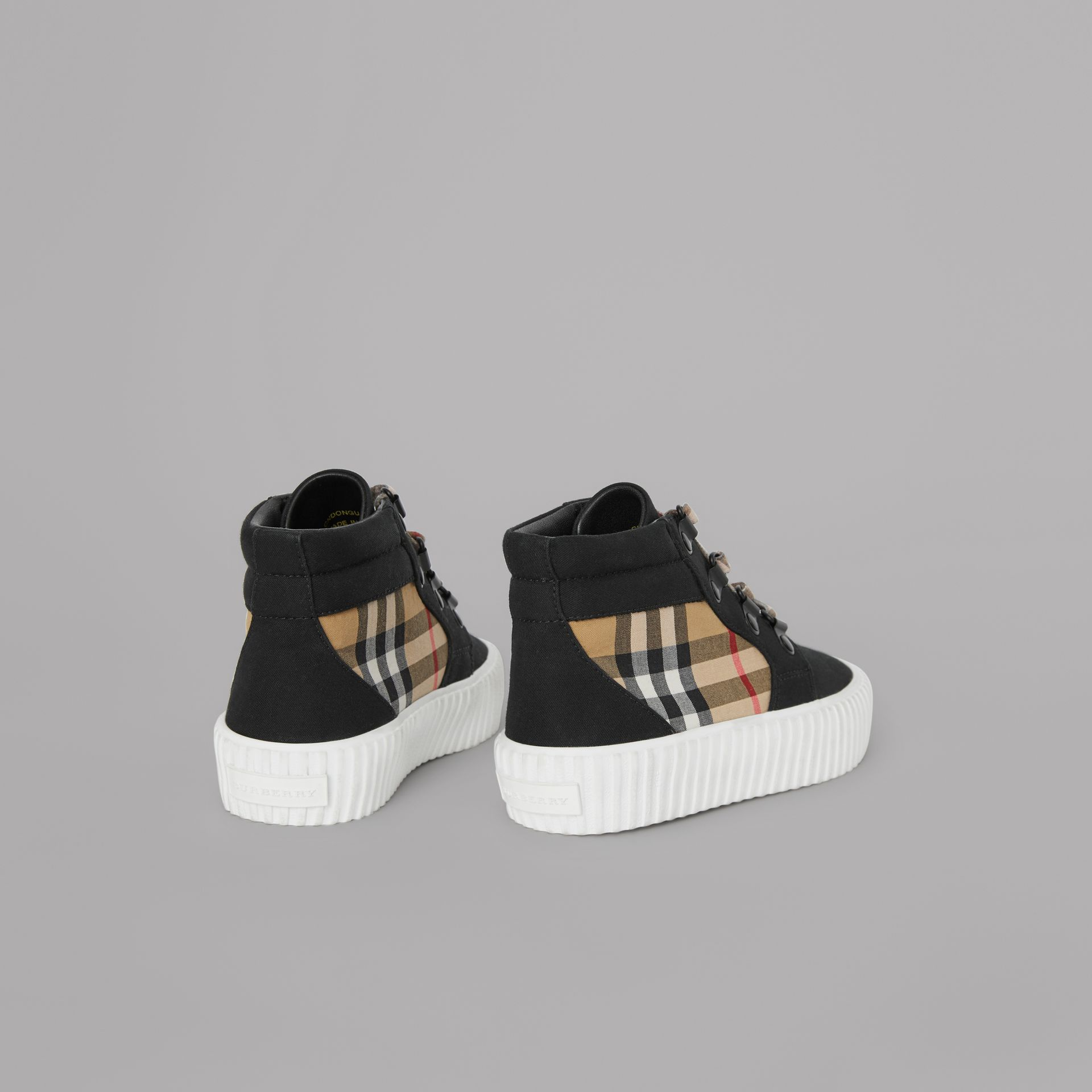 Vintage Check Detail High-top Sneakers in Black/antique Yellow - Children | Burberry United States - gallery image 2