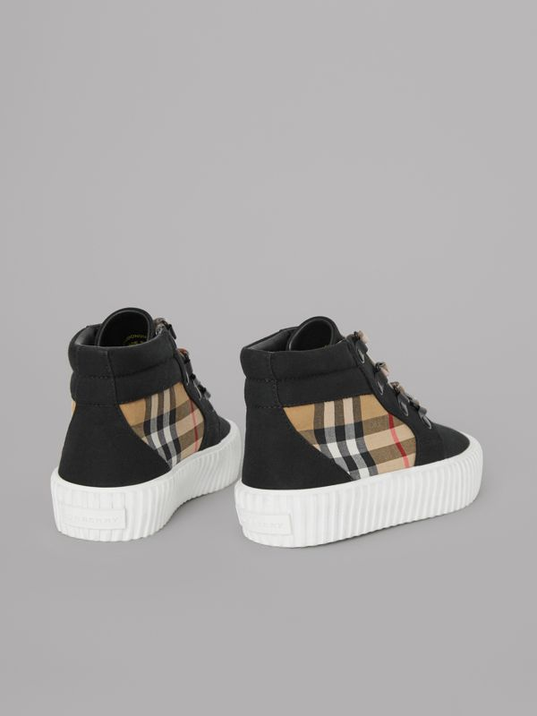 Vintage Check Detail High-top Sneakers in Black/antique Yellow - Children | Burberry United States - cell image 2