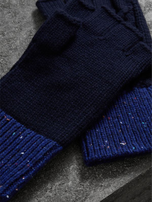 Wool Cashmere Fingerless Gloves in Navy | Burberry - cell image 2