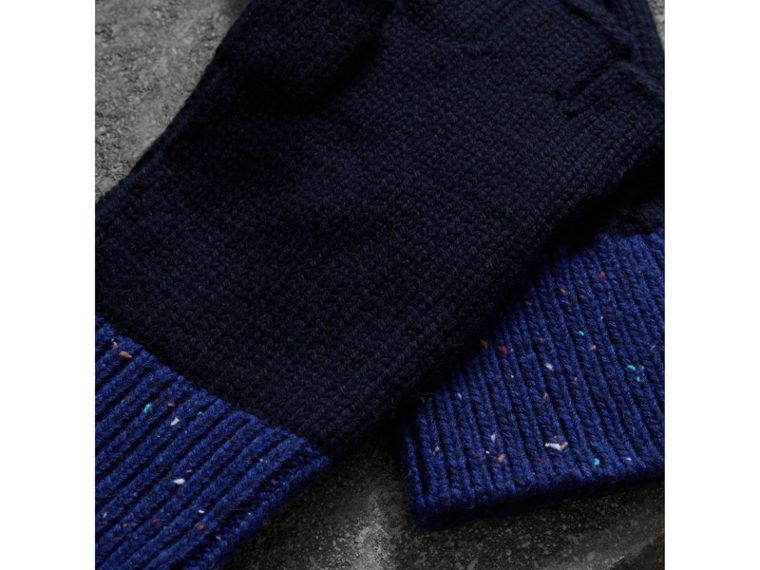Wool Cashmere Fingerless Gloves in Navy | Burberry Canada - cell image 2