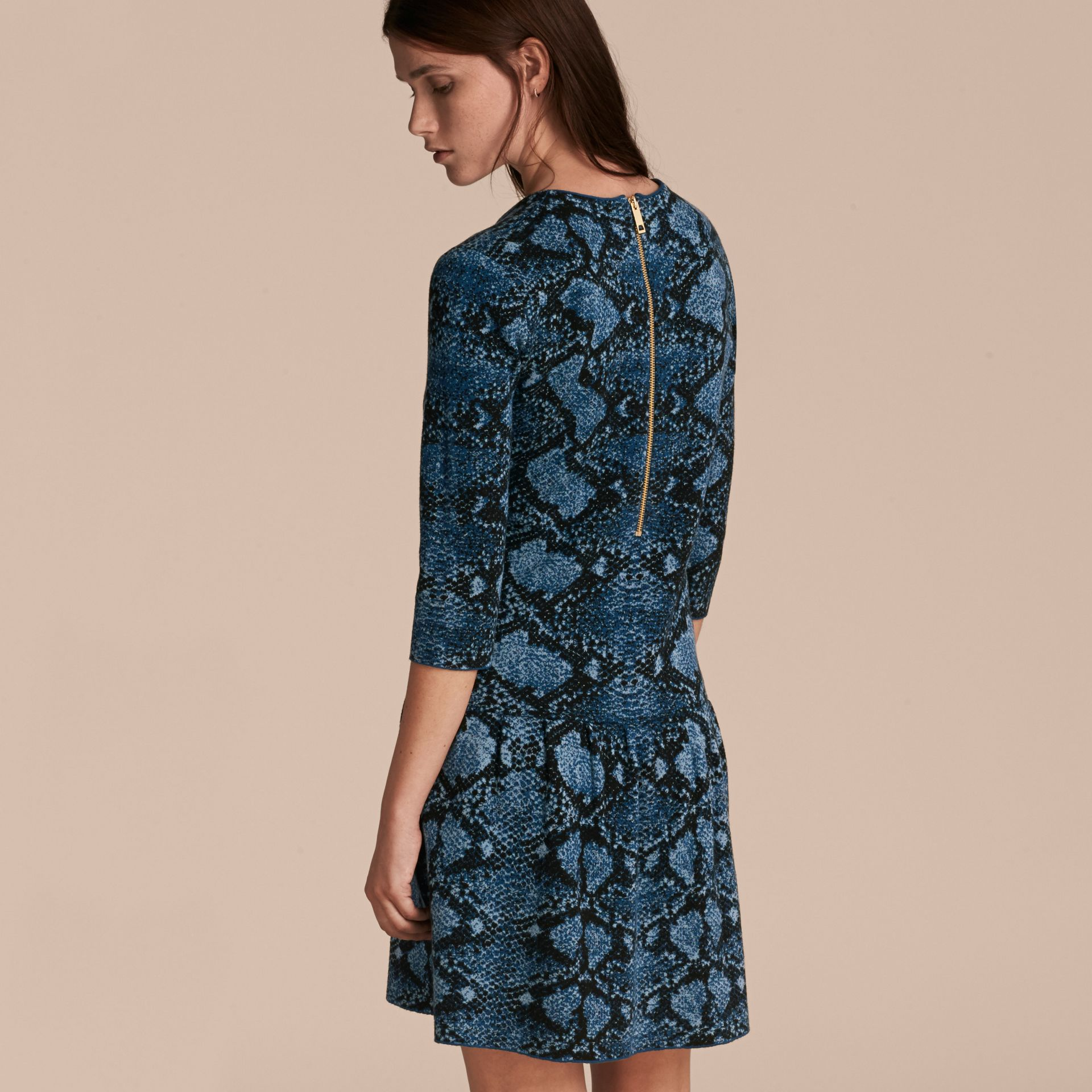 Mineral blue Python Jacquard Merino Wool Dress - gallery image 3