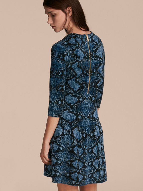 Mineral blue Python Jacquard Merino Wool Dress - cell image 2