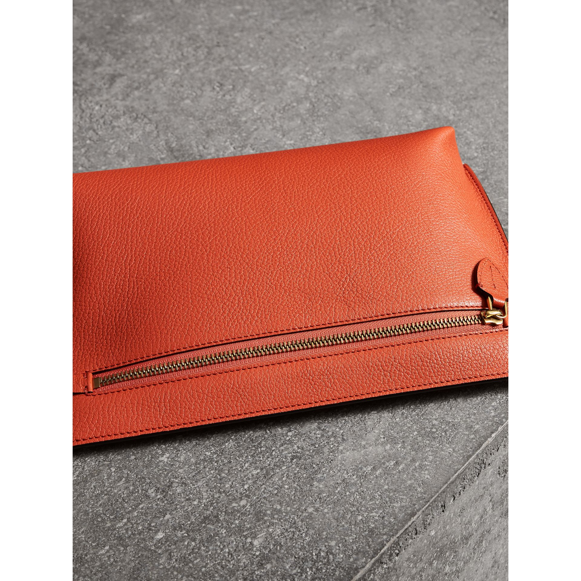 Grainy Leather Wristlet Clutch in Clementine - Women | Burberry Australia - gallery image 7
