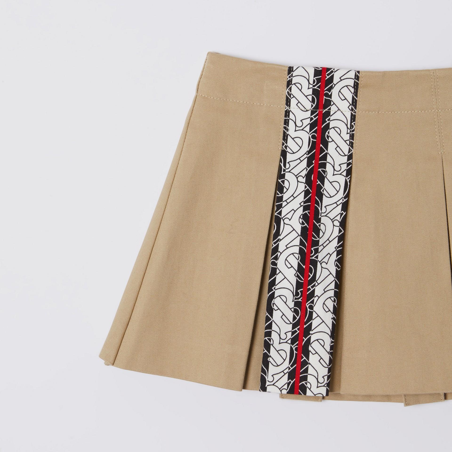 Monogram Stripe Print Box-pleated Cotton Skirt in Honey - Children | Burberry Australia - gallery image 4