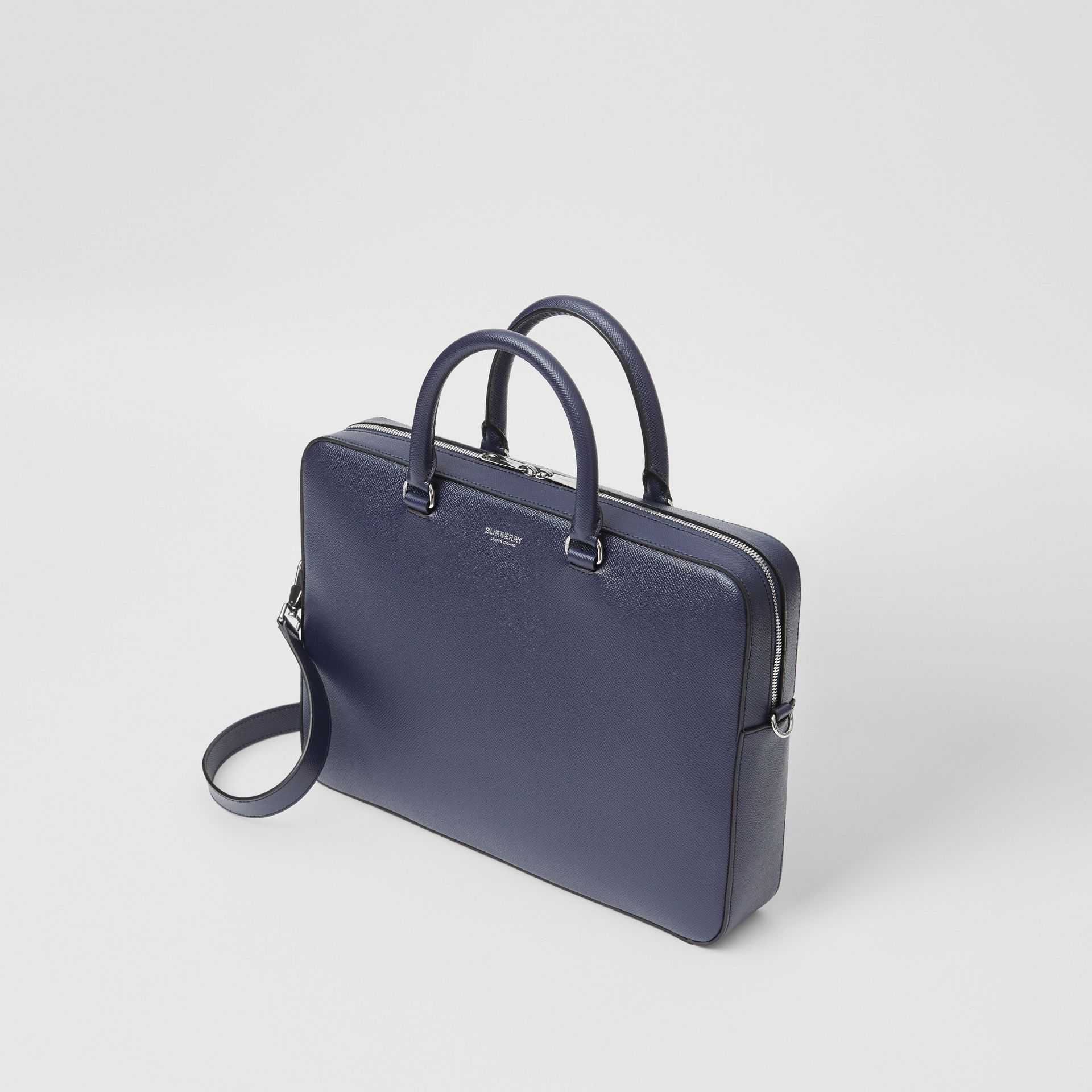 Grainy Leather Briefcase in Regency Blue - Men | Burberry - gallery image 3