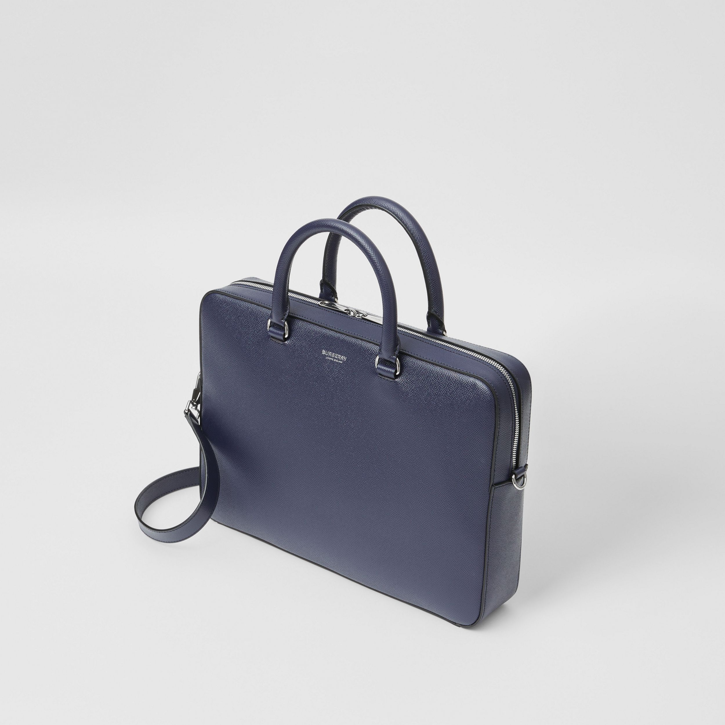 Grainy Leather Briefcase in Regency Blue - Men | Burberry United Kingdom - 4