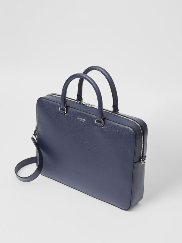 Grainy Leather Briefcase in Regency Blue - Men | Burberry Singapore - cell image 3