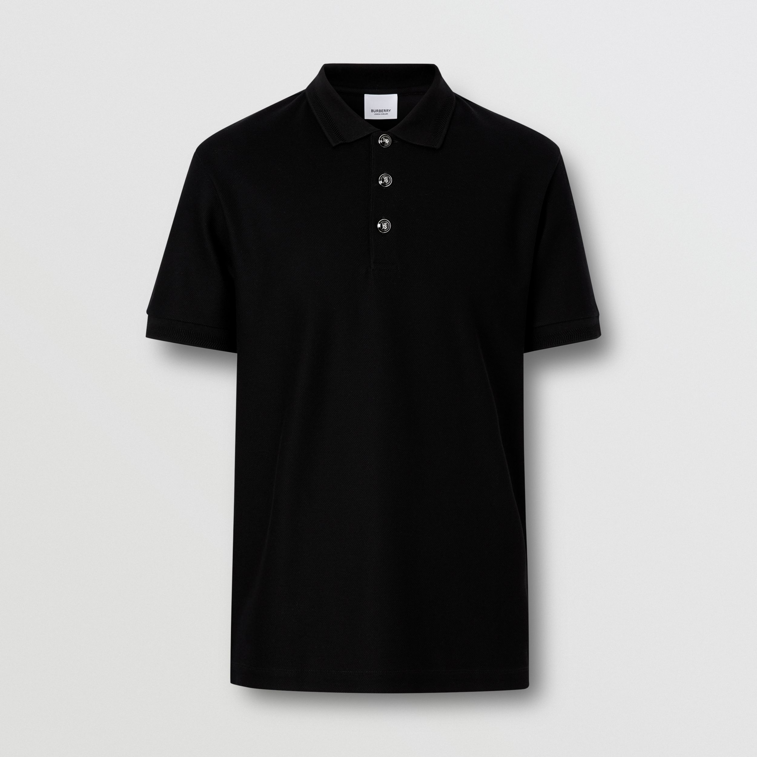 Cotton Piqué Polo Shirt in Black - Men | Burberry - 4