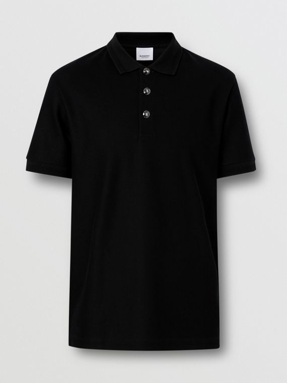 Cotton Piqué Polo Shirt in Black
