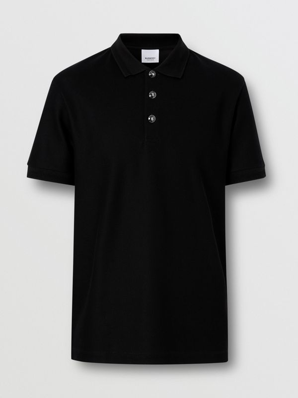 Cotton Piqué Polo Shirt in Black - Men | Burberry United Kingdom - cell image 3