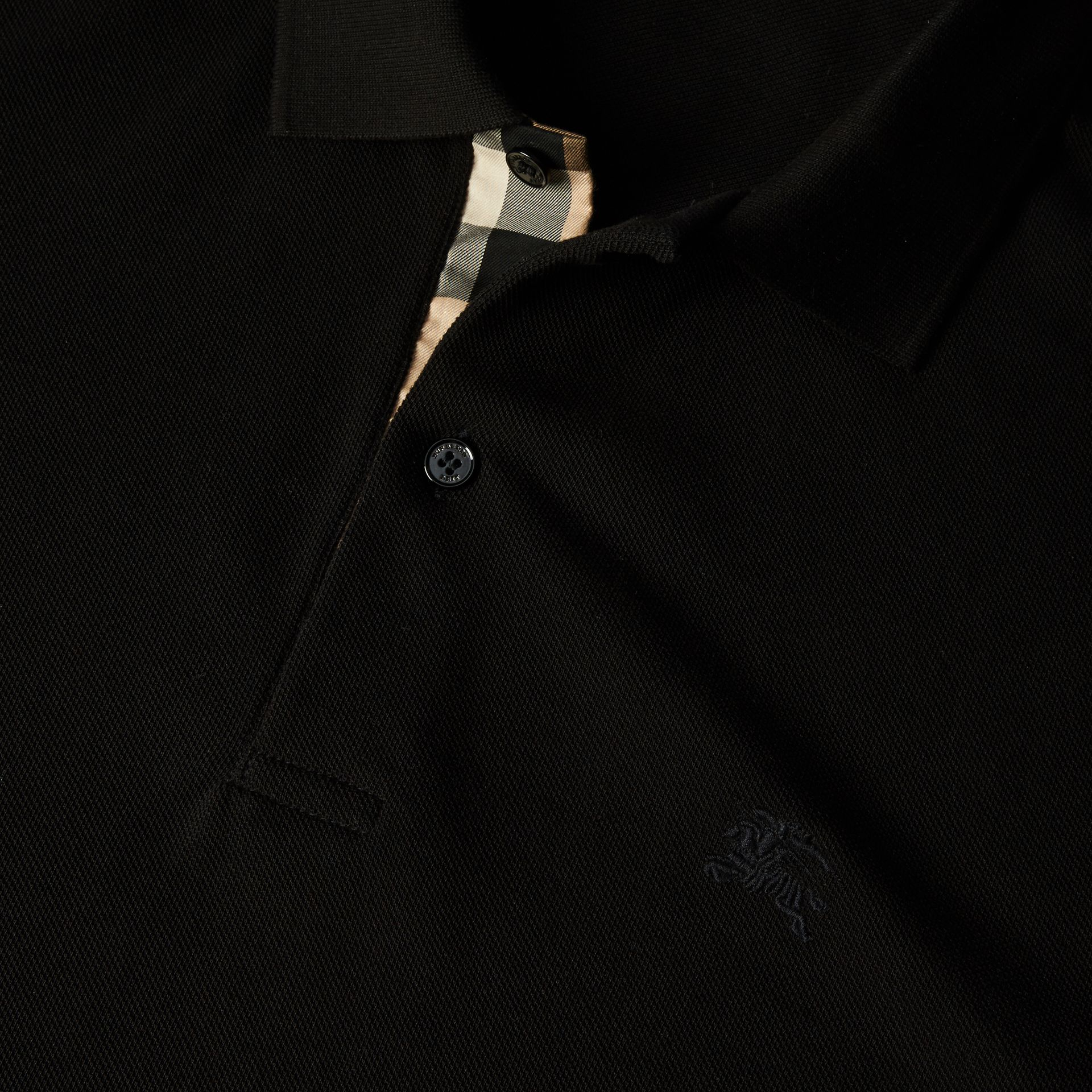 Black Check Placket Cotton Piqué Polo Shirt Black - gallery image 2