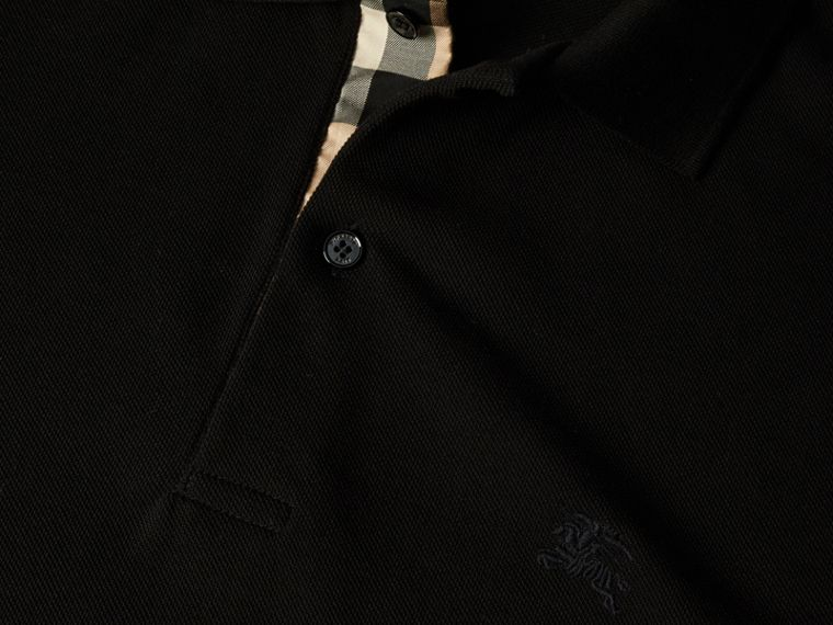 Check Placket Cotton Piqué Polo Shirt in Black - Men | Burberry - cell image 1