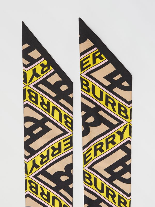 Logo Graphic Print Silk Skinny Scarf in Canary Yellow | Burberry - cell image 3