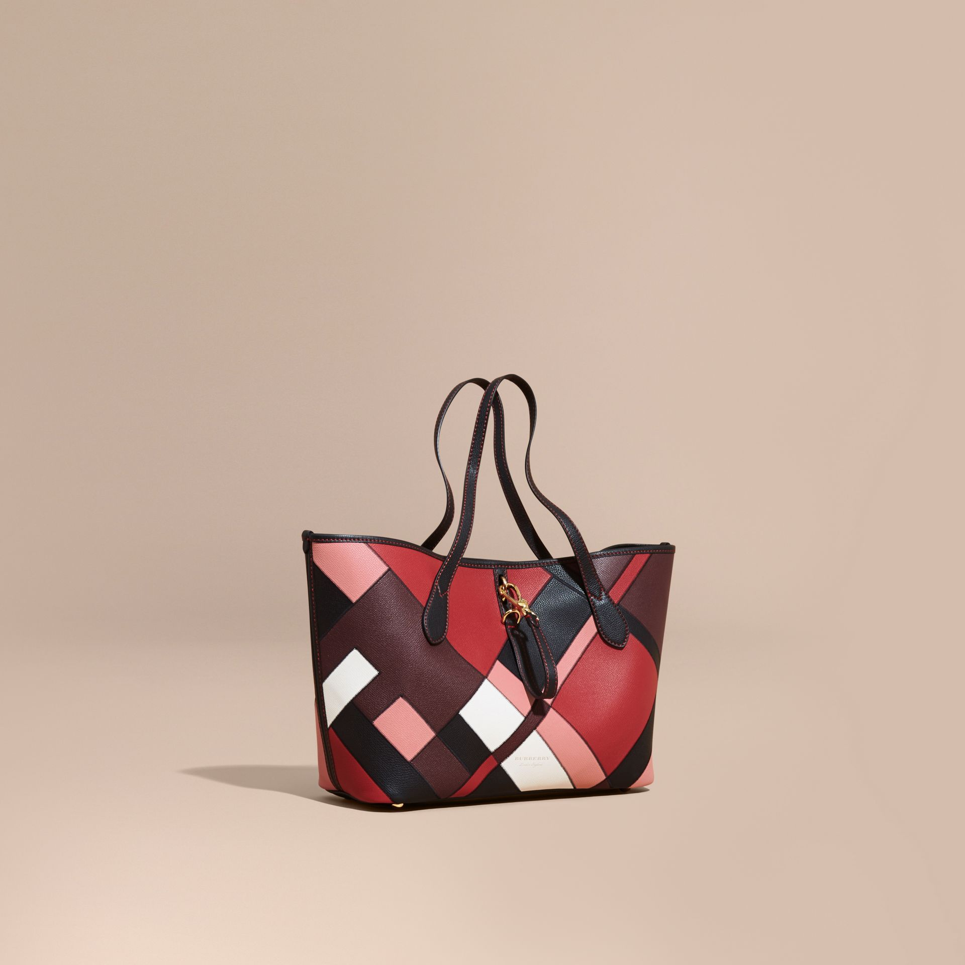 Medium Patchwork Grainy Leather Tote Bag in Pink - Women | Burberry - gallery image 1