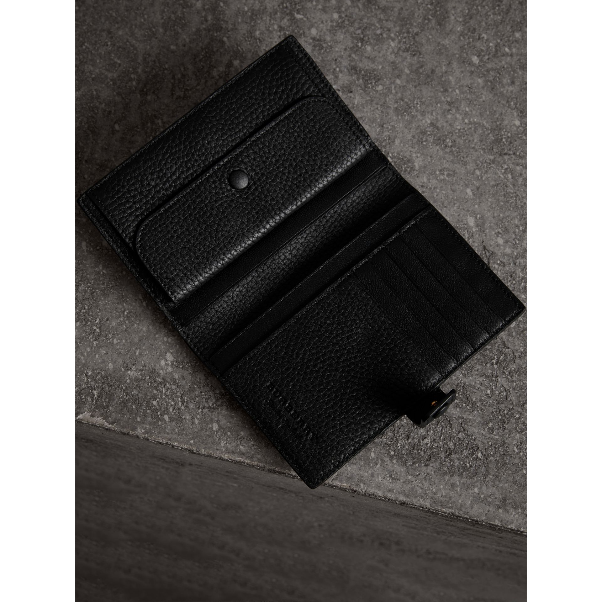 Embossed Grainy Leather Folding Wallet in Black - Women | Burberry - gallery image 3