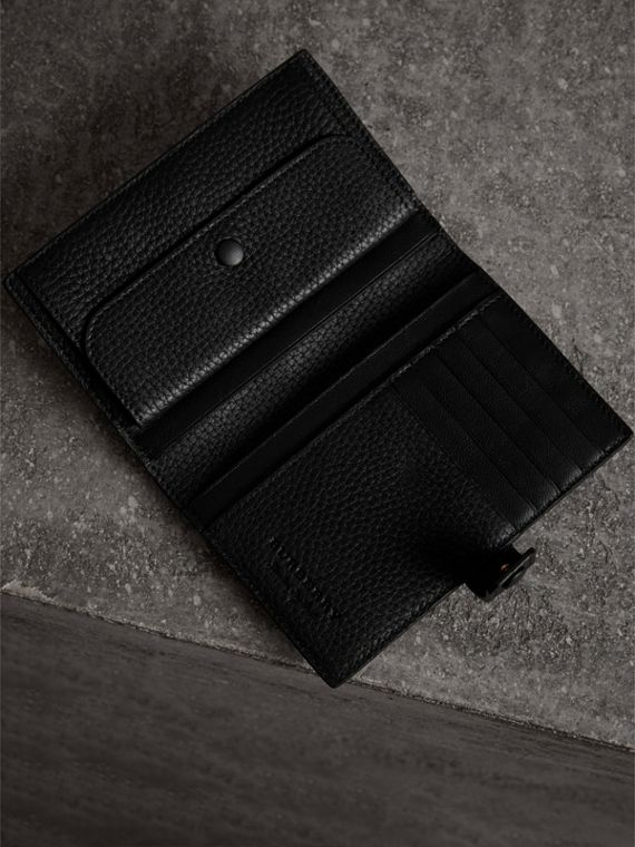 Embossed Grainy Leather Folding Wallet in Black - Women | Burberry Australia - cell image 3
